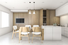 3d rendering wood white minimal kitchen with bar. 3d rendering interior design by 3ds max Stock Image