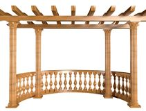 3D rendering Wooden balustrade with pergola and columns stock illustration