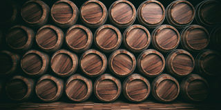 3d rendering wooden barrels background Stock Photo