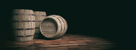 3d rendering wooden barrels on dark background Stock Photo