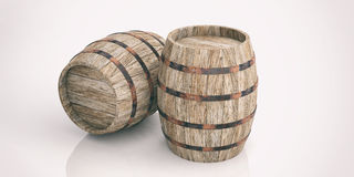 3d rendering wooden barrels on white background. 3d rendering old wooden barrels on white background Stock Photography