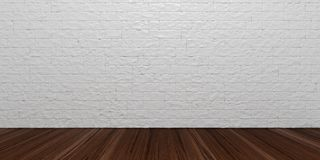 3d rendering wooden floor and brick wall. Background Stock Photography
