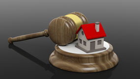 3D rendering of wooden gavel and house symbol Royalty Free Stock Photography