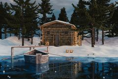 3d rendering of wooden log cabin behind frozen lake in the winte Royalty Free Stock Images