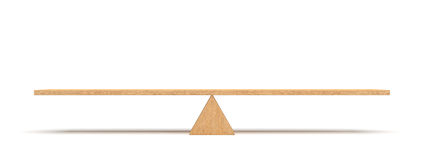 3d rendering of a wooden plank balancing on a wooden triangle isolated on white background. Royalty Free Stock Images