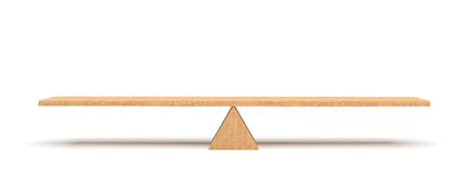 3d rendering of a wooden plank balancing on a wooden triangle isolated on white background. Stock Images