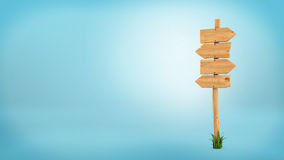 3d rendering of a wooden pole with some grass on it`s base and four blank arrows on the top. Directional signs. Outdoor advertisement. Signposts and arrows Royalty Free Stock Photo