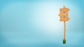 3d rendering of a wooden pole with some grass on it`s base and three blank arrows on the top. Directional signs. Outdoor advertisement. Signposts and arrows Royalty Free Stock Photography