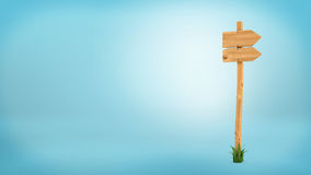 3d rendering of a wooden pole with some grass on it`s base and two blank arrows on the top. Directional signs. Outdoor advertisement. Signposts and arrows Stock Photography