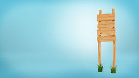 3d rendering of a wooden post with four square boards for information. Stock Photos