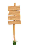 3d rendering of a wooden post with four square boards for information. Royalty Free Stock Photos