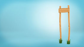 3d rendering of a wooden post with square board for information. Directions and travel. Information and advertisement. Signs and billboards Stock Photos
