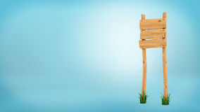 3d rendering of a wooden post with three square boards for information. Stock Photos