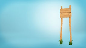 3d rendering of a wooden post with two square boards for information. Royalty Free Stock Photos