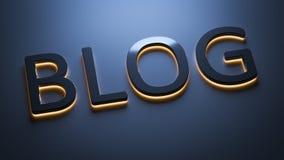 The word blog in neon lights. 3d rendering of the word blog in neon lights Royalty Free Stock Image