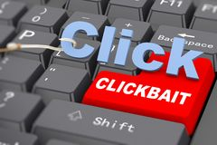 3d hook and word click on keyboard - clickbait royalty free illustration