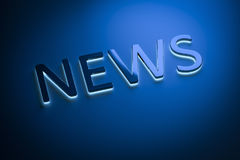 The word news with blue light. 3d rendering of the word news with blue light Royalty Free Stock Image