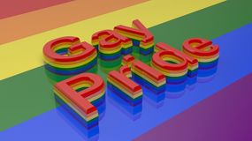 3d rendering words gay pride on gay flag background Stock Photography