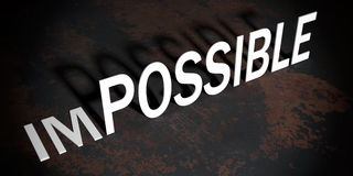 3d rendering words possible and impossible. 3d rendering word possible in impossible Stock Photos