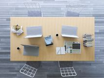 3d rendering of working table with flat lay style Stock Images