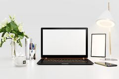 3d rendering of workspace with black laptop. 3d illustration stock illustration