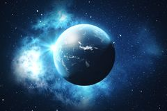 3D Rendering World Globe. Earth Globe with Backdrop Stars and Nebula. Earth, Galaxy and Sun From Space. Blue Sunrise. Elements of this image furnished by NASA Royalty Free Stock Image