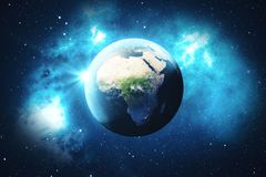 3D Rendering World Globe. Earth Globe with Backdrop Stars and Nebula. Earth, Galaxy and Sun From Space. Blue Sunrise. Elements of this image furnished by NASA Royalty Free Stock Photo