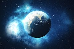 3D Rendering World Globe. Earth Globe with Backdrop Stars and Nebula. Earth, Galaxy and Sun From Space. Blue Sunrise. Elements of this image furnished by NASA Royalty Free Stock Photos