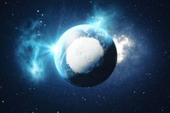 3D Rendering World Globe. Earth Globe with Backdrop Stars and Nebula. Earth, Galaxy and Sun From Space. Blue Sunrise. Elements of this image furnished by NASA Royalty Free Stock Photography