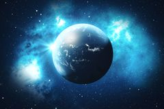 3D Rendering World Globe from Space in a Star Field Showing Night Sky With Stars and Nebula. View of Earth From Space. Elements of this image furnished by NASA Royalty Free Stock Photos