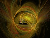 3d rendering with yellow abstract fractal pattern.  Stock Photos
