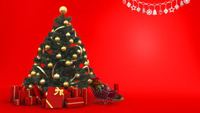 3d rendering yellow bell on christmas tree with gift and decor in red background with space for put words on Stock Images