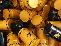 3D rendering biohazard barrels. 3D rendering yellow and black barrels with biologically hazardous materials Stock Images