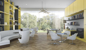 3d rendering yellow and black modern library with garden view Stock Photography
