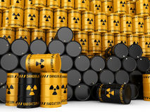 3D rendering Yellow and black radioactive barrels. On a white background Stock Image