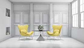 3d rendering yellow design chair in white classic living room Stock Image