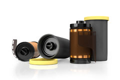 3d rendering of yellow film camera rolls  on white backg. Round with clipping paths Royalty Free Stock Photo