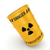 3D rendering Yellow radioactive barrel. On a white background Royalty Free Stock Photos