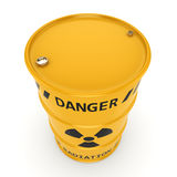3D rendering Yellow radioactive barrel. On a white background Royalty Free Stock Image