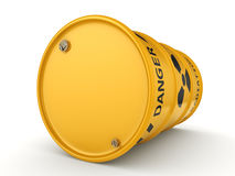 3D rendering Yellow radioactive barrel. On a white background Stock Photography