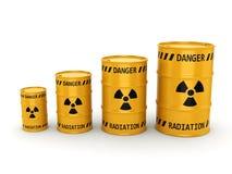 3D rendering Yellow radioactive barrels Royalty Free Stock Photography