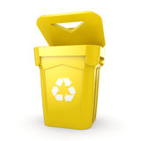 3D rendering Yellow Recycling Bin Royalty Free Stock Photography