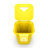 3D rendering Yellow Recycling Bin Royalty Free Stock Photo