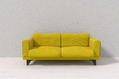 3D rendering of Yellow sofa in the white room Stock Image