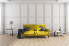 3d rendering yellow soft sofa in classic living room Stock Photos