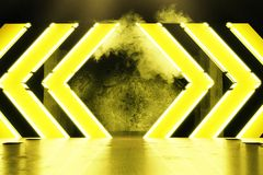 3d rendering of yellow warning hazard shape in front of grunge w. All background and light beam royalty free illustration