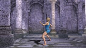 Martial arts. Temple training. 3D rendering of a young blonde woman who trains martial arts in an ancient temple with tall, sturdy columns stock video footage