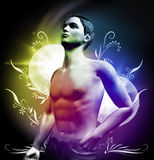 Glamor Guy. 3d rendering of young man with light effects Royalty Free Stock Image