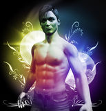 Glamor Guy. 3d rendering of young man with light effects Royalty Free Stock Photos