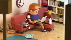 3d rendering of young man sitting on a couch and working on laptop. Computer at home. Cute working space. Cat sleeping on a sofa. Cartoon stylized Royalty Free Stock Photography
